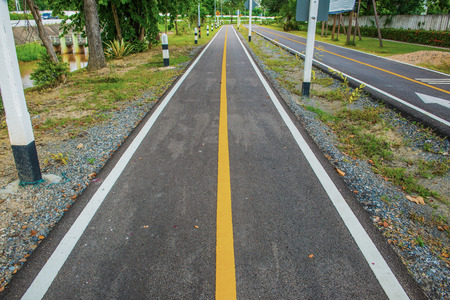 Bicycle lane in Chiangmai city, Thailand. Stock Photo