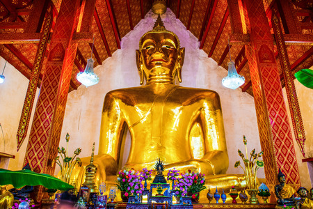 Big buddha statue in Si Khom Kham temple at Phayao province, Thailand