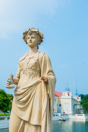 Old Statue at Bang Pa-In Palace, Thailand. Editorial