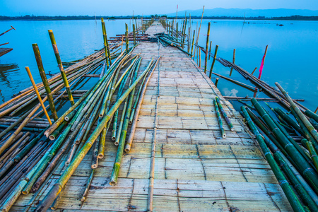 Bamboo bridge on the lake, Thailand Stock Photo