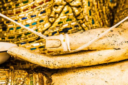 Hand of buddha at Thai temple, Thailand. Stock Photo
