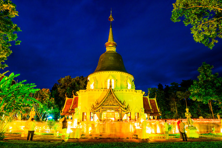 Triple Circumambulation of Visakha Bucha Day at Darabhirom Forest Monastery, Thailand. Stock Photo