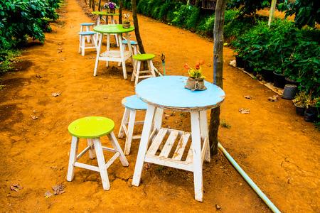 table set: Table set in the grape garden, Thailand