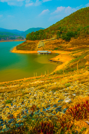 Landscape view of Mae Ngat Somboon Chon dam, Thailand