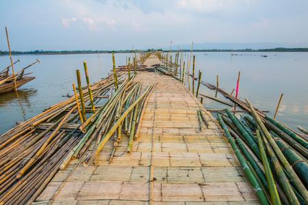 Bamboo bridge on the lake, Thailand Stock Photo