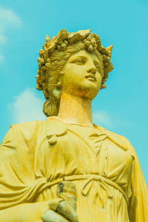 Old Statue at Bang Pa-In Palace, Thailand. Stock Photo