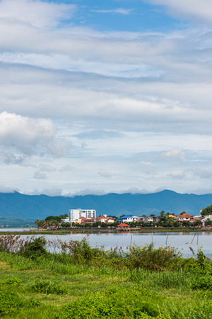 The city beside Kwan Phayao lake, Thailand. Stock Photo