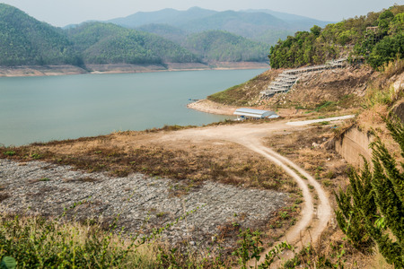 hill station tree: Landscape view of Mae Ngat Somboon Chon dam, Thailand