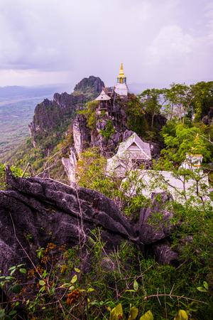 Pagoda on mountain at Chalermprakiat Prachomklao Rachanusorn temple, Thailand Stock Photo