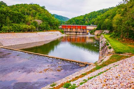Landscape view of Kio Lom dam, Thailand Stock Photo