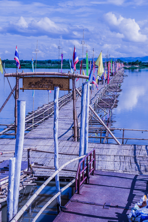 Bamboo bridge on the lake at Phayao province, Thailand