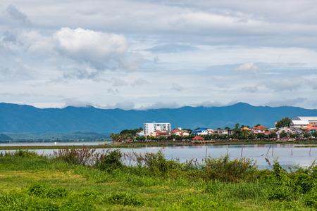 beside: The city beside Kwan Phayao lake, Thailand. Stock Photo