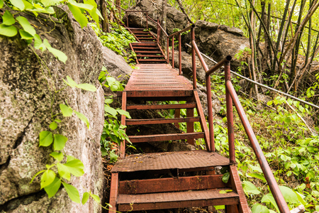Steel stairs in forest, Thailand. Stock Photo