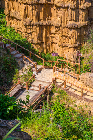 Walkway inside Pha Chau tourist attraction, Thailand. Stock Photo