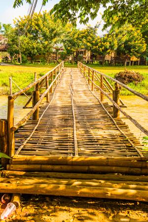 Bamboo bridge cross Pai river, Thailand.