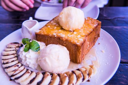 asian flavors: Honey Toast on White Dish, Thailand.