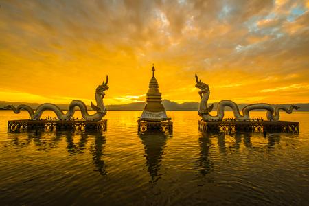 White Naga statue at Kwan Phayao, Thailand.