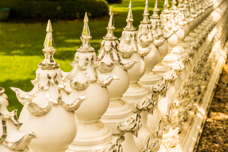 Modern Thai art of fence at the temple, Thailand. Stock Photo