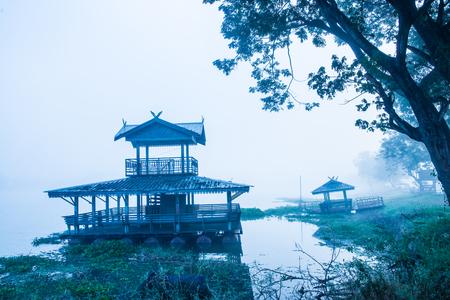 Phayao lake or Kwan Phayao in winter season at Phayao province, Thailand. Stock Photo