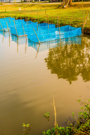 Fish cages in farm, Thailand. Stock Photo