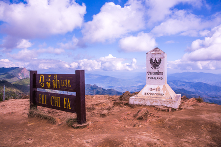 Milestone on Phu Chi Fa, Thailand.
