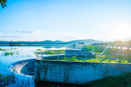 Landscape view of Mae Tam reservoir, Thailand.