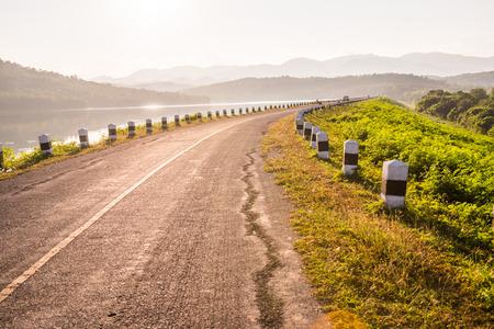 tam: Small road at Mae Tam reservoir, Thailand.