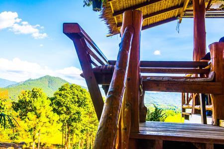 Thai style bench with natural view, Thailand. Stock Photo