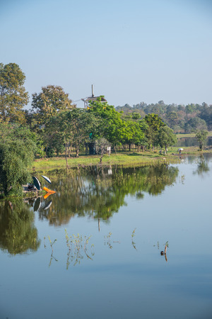 Landscape view of Huay Tueng Tao lake in Chiangmai province, Thailand.