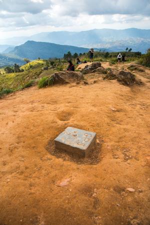 GPS benchmark on mountain, Thailand.