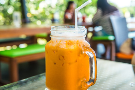 Iced Milk Tea in Modern Glass, Thailand.