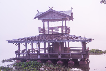 Pavilion on raft at Kwan Phayao, Thailand.