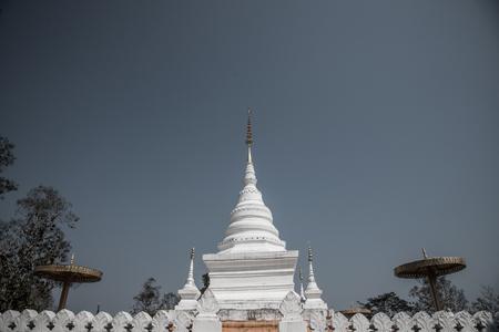 White pagoda at Nan city, Thailand. Stock Photo