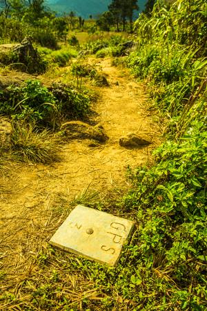 benchmark: GPS benchmark on mountain, Thailand.