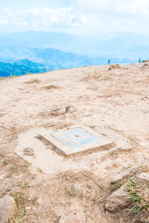 GPS benchmark on mountain, Thailand.