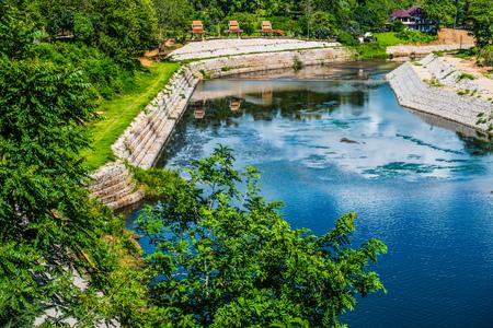 spillway: Landscape view of Kiew Lom dam, Thailand.