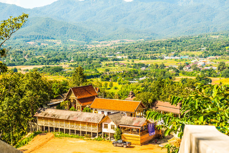Landscape view of Phra That Maeyen temple, Thailand. Stock Photo