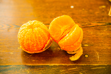Mandarin oranges on wooden table, Thailand.