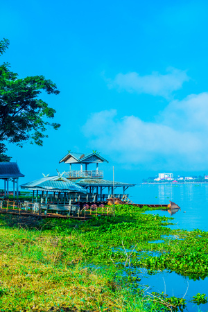 The city beside Phayao lake in winter season, Thailand. Stock Photo