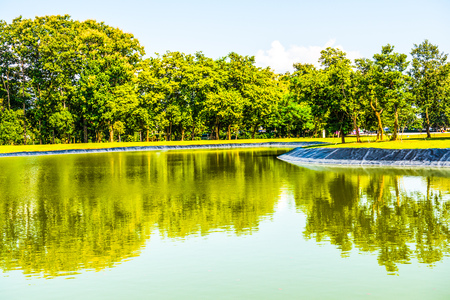 Lake with blue sky at Chiang Rai province, Thailand. Stock Photo