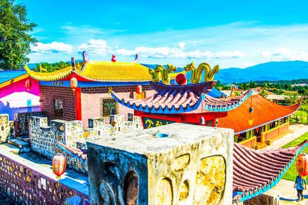 migrated: Chinese style building at Santichon village, Thailand. Stock Photo