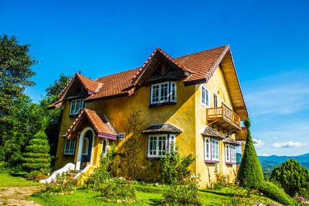 Yellow house at Pai city, Thailand. Stock Photo