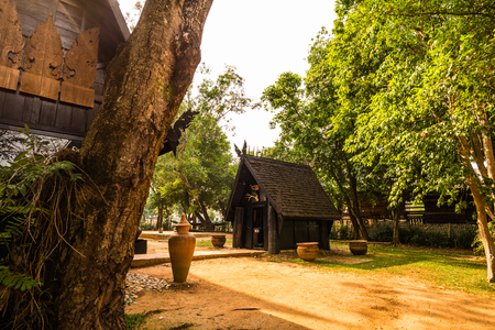 Some building of black house museum at Chiangrai province, Thailand. Stock Photo