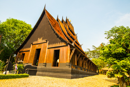 windows and doors: Some building of black house museum at Chiangrai province, Thailand. Editorial
