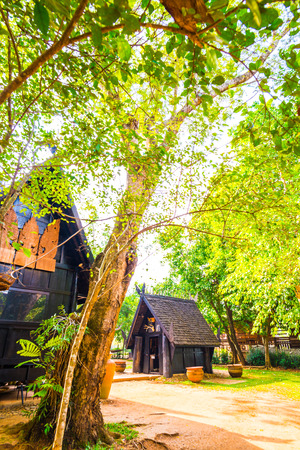 Some building of black house museum at Chiangrai province, Thailand. Editorial