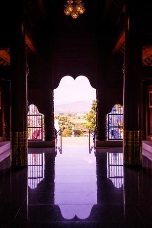 entryway: Silhouette of church door, Thailand. Stock Photo
