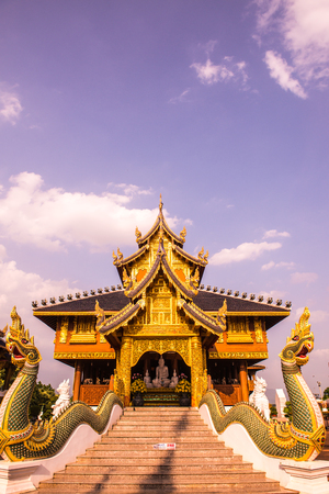 Beautiful Thai style church at Ban Den temple, Thailand.