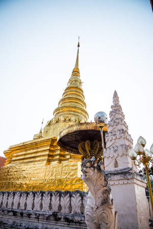 Golden pagoda at Phra That Chae Haeng temple, Thailand.