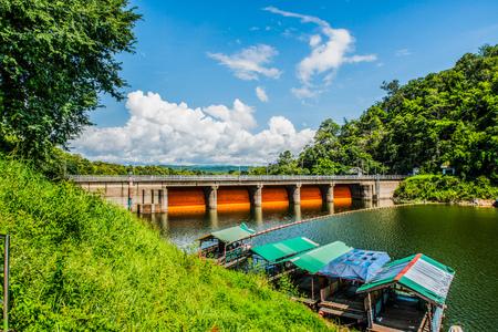 thailand flood: Landscape view of Kio Lom dam, Thailand Stock Photo