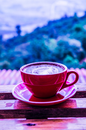 Hot coffee in red cup, Thailand.